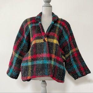 Vintage mohair blend plaid jacket